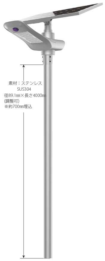 LEDソーラー外灯 ペガサス 仕様図 PEGASASU.100.30 ポール